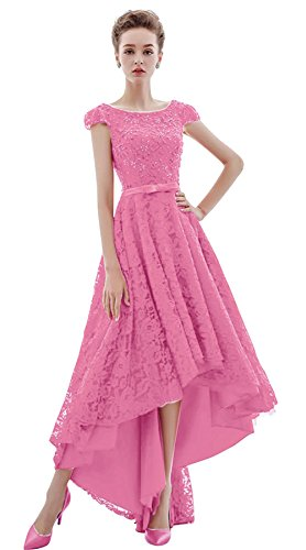 Low Grace Lace Bridesmaid Cap BessWedding Women's Dresses Sleeve High Pink2 Beaded Ugwtq