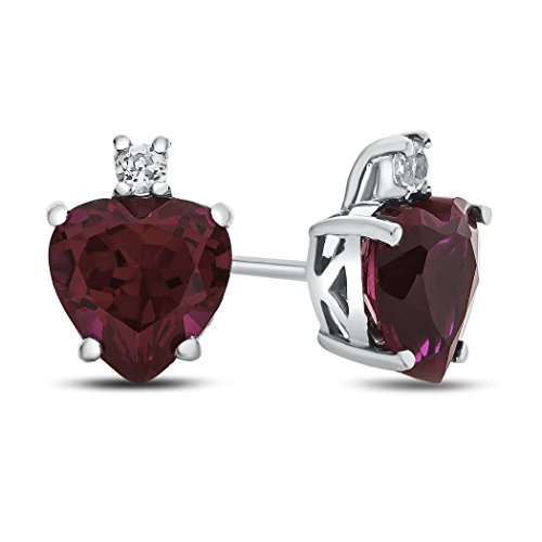 - Finejewelers 10k White Gold 7mm Heart Shaped Created Ruby with White Topaz Earrings
