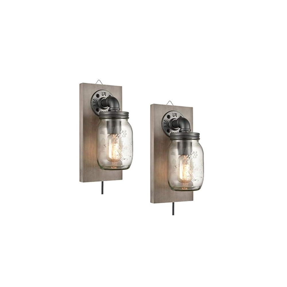 EUL Farmhouse Mason Jar Wall Sconces Hanging Wall Light, Plug-in Set of 2