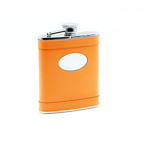 Savage 6oz Hip Flask Wrapped Orange Leather and Oval Convex 18/8 Stainless (Oval Stainless Steel Flask)
