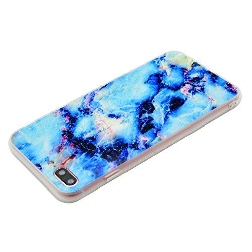 Coque Cover iPhone 7 Plus, IJIA Ultra-mince Motif Marbre Naturel Crystal Bleu PC Dur et Les TPU Doux (2 en 1) Plastique Silicone Hard Bumper Case Cover Shell Coque Housse Etui pour Apple iPhone 7 Plus