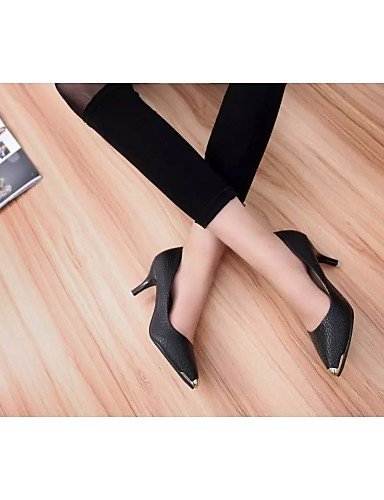 Shoes Toe White amp; Casual White Office Women's Heels Stiletto Career Black Heels Heel Leatherette Pointed ShangYi 50aqwS4S