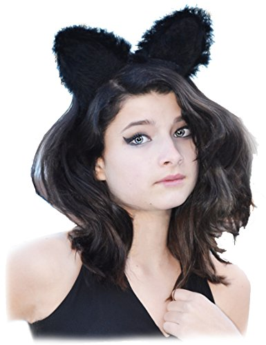 [Kitty Cat Ear Headband Cosplay Hairband Black Soft Dress Up Costume Play Children Adult] (Cat Costume Ideas Adults)