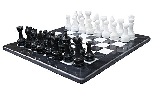 RADICALn Completely Handmade Original Marble Chess Board Game set Two Players Full Chess Game Table Set - Available in Different Colors (black)
