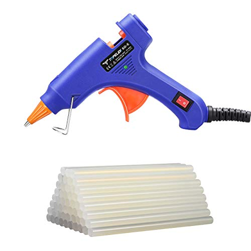 Hot Glue Gun, TopElek Glue Gun Kit with 50pcs Glue Sticks, High Temperature Melting Glue Gun for DIY Small Projects, Arts and Crafts, Home Quick Repairs,Artistic Creation(20 Watts, Blue) by TopElek