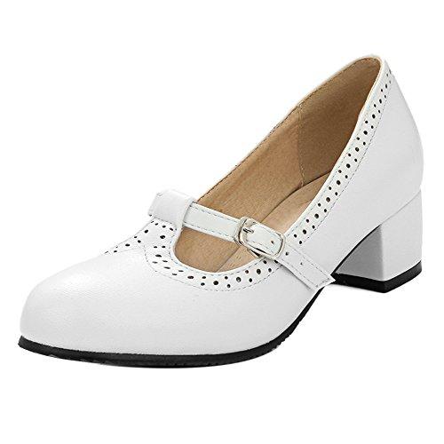 Pompe Tacco White Donna TAOFFEN Basso Scarpe Dolce Scarpe Strap Stringate T wqzRfq