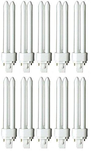 U-lite 2 Light (Pack of 10 PLD 26W G24D-3 827, 26 Watt Double U Shaped Tube, 2 Pin Compact Fluorescent Light Bulb)