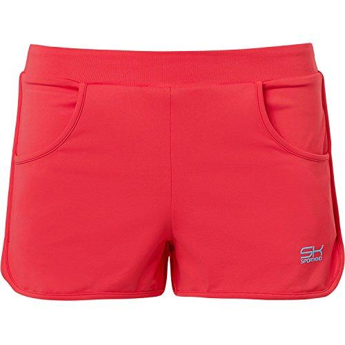Sportkind Mädchen & Damen Tennis / Volleyball / Sport 2-in-1 Shorts mit Innenhose, pfirsich, Gr. 122