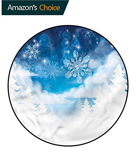 (RUGSMAT Winter Round Rug Kid Carpet,Snowflakes and Stars Coffee Table Mat Non-Skid Living Room Carpet Diameter-55)
