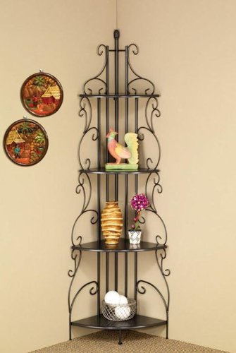 Four Tier Metal Etagere Shelf in Dark Grey by Coaster Home Furnishings