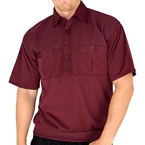 (Classic by Palmand 2 Pocket Solid Banded Bottom Polo Shirt (XLarge, Burgundy) )