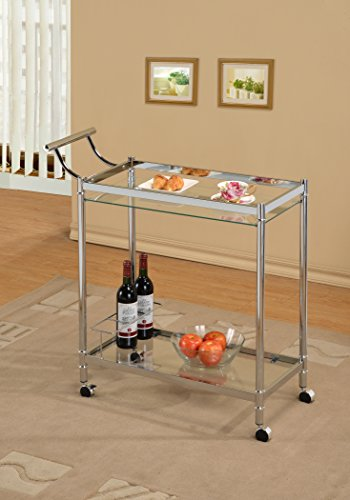 Chrome Metal Bar Tea Wine Holder Serving Cart With Tempered Glass (Cart Glass Holder Bar Wine)