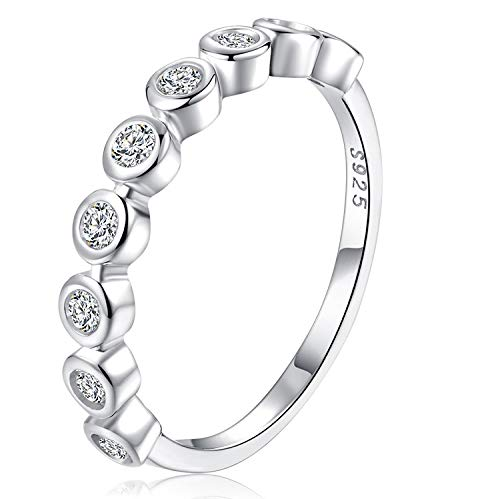 Half Eternity Bezel Band (espere Bezel Set Round CZ Wedding Band Half Eternity Stacking Ring Size 8)
