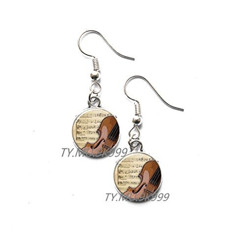 Yao0dianxku Violin Earrings, Charming violin jewelry, violin Stud Earrings, fiddle Earrings, handmade jewelry,music notes Stud Earrings, fiddle Stud Earrings.Y033 (This Is Halloween Violin Notes)