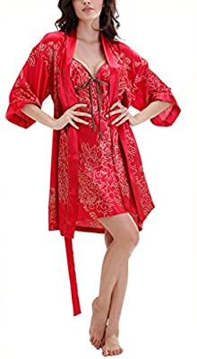 Tortor 1bacha Women's Bridal Nightgown and Robe Set Floral Sleepwear