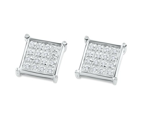 8mm Wide Diamond Earrings Square Shaped Screw Back Earrings 0.10ctw Mens or Womens (Diamond Square Shaped Earrings)