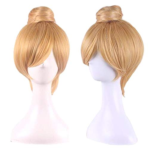 Belegend Anime Cos Wig Princess Bun Blonde Synthetic Hair Straight Short Cosplay Costume for Tinker Bell ()