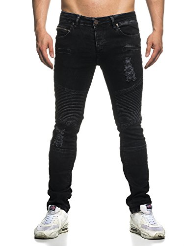 TAZZIO Slim Fit Biker Herren Destroyed Look Stretch Jeans Hose Denim 16517