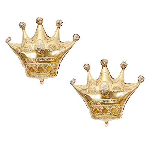 Creaides Crown Balloons Gold Tiara Balloons Birthday Wedding Engagement Happy New Year Party Suppliers Pack 2pcs
