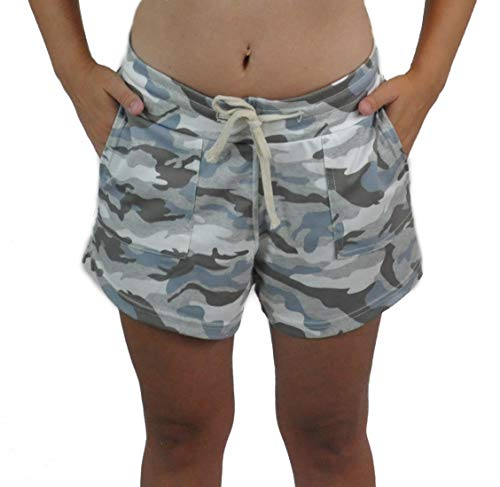 in The Cut Fitness Active Women's Shorts Camouflage Camo with Drawstring and Pockets (S/M, Gray)