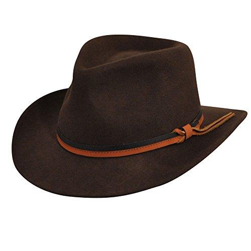 (Country Gentleman Men's Outback Wool Drop Brim Fedora Hat, Dark Olive, S)