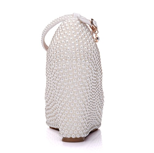 Minishion Womens Dolda Hög Plattform Pärla Beading Kilklack Bröllop Aftonskor Elfenbens 10cm Klack