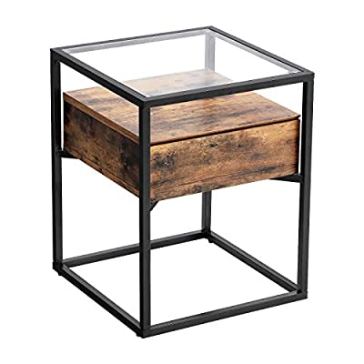 "VASAGLE Industrial Side Table, Nightstand, Tempered Glass End Table, with Drawer and Rustic Shelf, Decoration in Living Room, Lounge, Stable Iron Frame ULET04BX - THE PLAY OF MATERIALS: A black iron frame, an elegant glass surface and a rustic wooden shelf in between - a harmonious interplay of different materials that gives this side table its unique appearance OFFBEAT ESSENTIALS: This glass table not only offers a spacious 16. 9""L x 16. 9""W surface, there is also a shelf and an almost invisibly integrated drawer for even more storage space directly under the glass top SUN, MOON AND STARS: As an end table next to your couch or as a small coffee table for bedtime readings, this piece of furniture cuts a fine figure both in daylight and in moonlight - nightstands, bedroom-furniture, bedroom - 418ywNHlPQL. SS400  -"