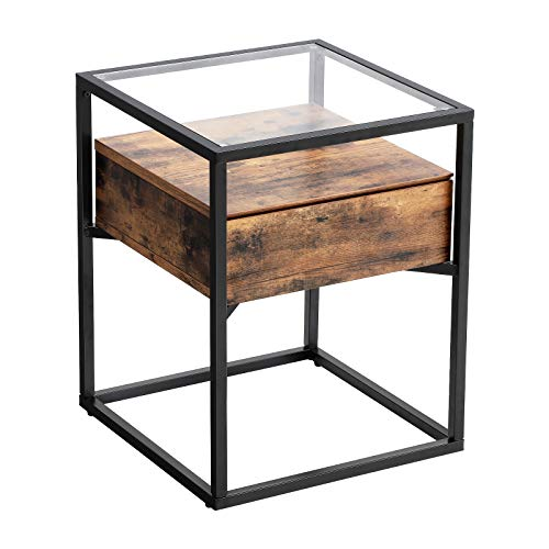 VASAGLE Industrial Side Table, Tempered Glass End Table, with Drawer and Rustic Shelf, Decoration in Living Room, Lounge, Foyer, Stable Iron Frame ULET04BX (Metal Foyer Table)