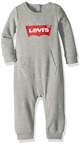 Levi's Baby Boys Long Sleeve Coverall, Grey Heather, 12M