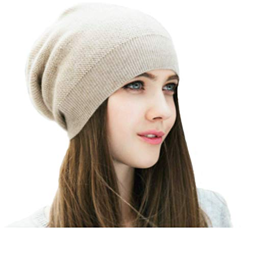 (WaySoft Pure 100% Cashmere Beanie for Women in a Gift Box, Oversized Women Beanie Hat, Bring Warm and Luxury to Your Loved Ones, Perfect (Beige))