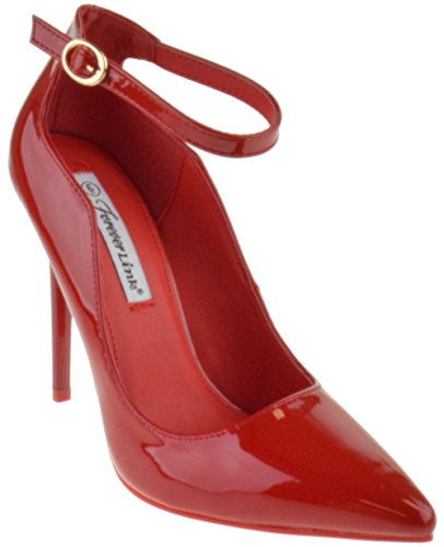 (Forever Grace 8P Womens Strappy Pointed Toe Curvy Pumps Red Pat)