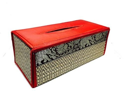 Red Handmade Thai Woven Straw Reed Rectangular Red Tissue Box Cover with Silk By - Sg Gatsby