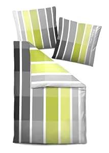 TOM TAILOR 9322 805 - Juego de cama (funda de almohada y de edredón, 155 x 220 cm 80 x 80 cm), color gris y verde