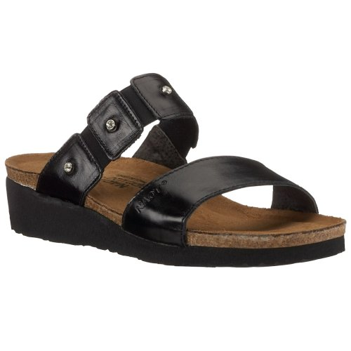 NAOT Women Ashley Wedge Sandal Black Madras Leather