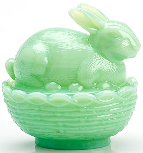 - Glass Easter Bunny Rabbit on Covered Dish Mosser Glass (Jadeite)