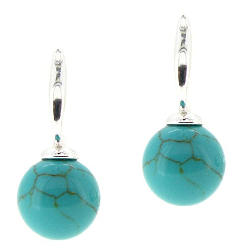 Sterling Silver Simulated Turquoise Ball Stud Post Earrings (And Turquoise Tiffany Co)
