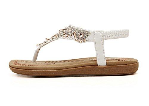 Sandales Flip sangle Minetom Fille Strass Flops Plage Bohême Tongs De Blanc T Des Chaussures Femme Été Mode x0f0vrwqZ