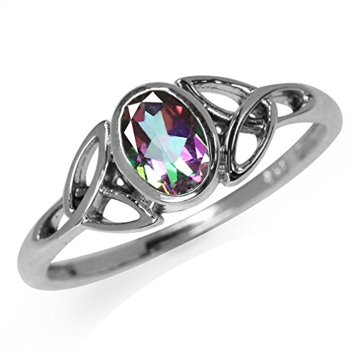 Mystic Fire Topaz 925 Sterling Silver Triquetra Celtic Knot Ring Size 5