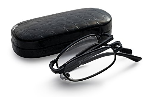 Black Folding Reading Glasses - Extra Clear Vision (Includes - Case, Cleaning Cloth and Cord) - Folding Glasses