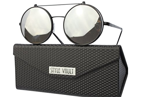 Women Mens Retro Style Flip Up Round Steampunk Sunglasses - 7