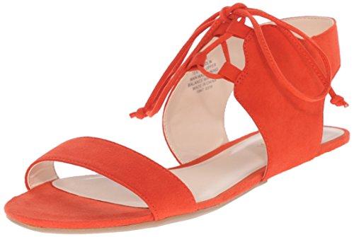 Nine West Jadlin cuero plano de la sandalia Red orange