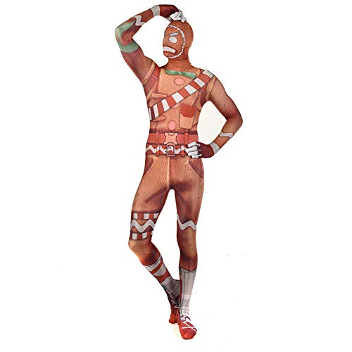 QXMEI Christmas Fortress Night Merry Marauder Cosplay Siamese Tight-Fitting Clothes,Brown-S -