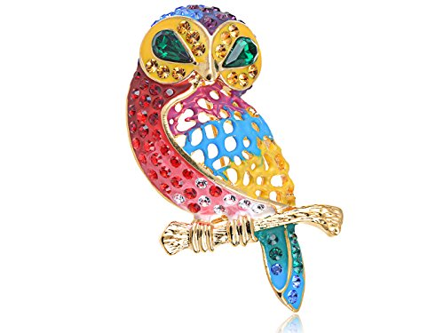 Owl Bird Brooch - Alilang Swarovski Crystal Elements Rainbow Pride Colorful Gems Meek Owl Bird Pin Brooch