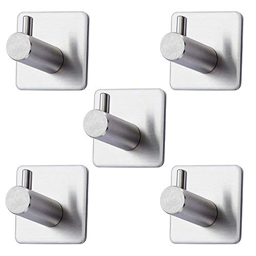 HomWis Adhesive Hooks, Durable 304 Stainless Steel Waterproof Wall Mounted Hangers with 3M Self Adhesive, Towel Hooks and Home Accessories Mounts&Stands for Kitchen, Bathroom, Bedroom, Office (5-PACK) by HomWis