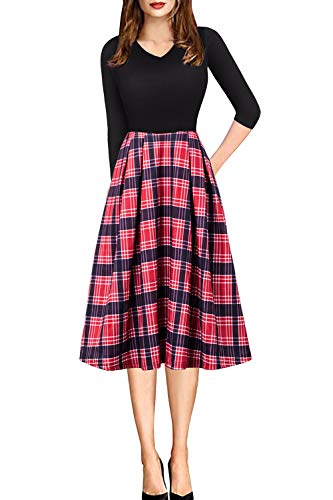 Womens Vintage A-line Formal Dress for Party Cocktail Red Plaid Pleated Midi Skirt Medium