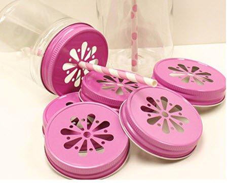 - Pink Daisy Cut Out Mason Jar Lids - Fits Regular Mouth [set of 24]
