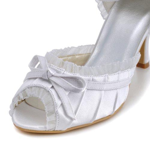 Elegantpark - punta abierta de satén mujer blanco - blanco