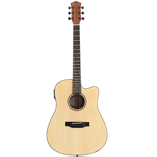 Donner DAG-1CE Electric Acoustic Guitar Cutaway 41'' Full-size Guitar Bundle Built-in Preamp with Bag Strap Tuner String - Image 1