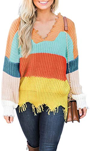 LEANI Women's Loose Knitted Sweater Long Sleeve V-Neck Ripped Pullover Sweaters Crop Top Knit Jumper (Long Sleeve Sweater Crop Top)