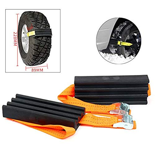 YaeGarden Traction Device for Trucks and SUVs Traction Solution with 2 Pack Blocks&Straps XL-Emergency Rescue Device Prevents Slipping in Snow Sand&Mud-Chain or Snow Tire Alternative